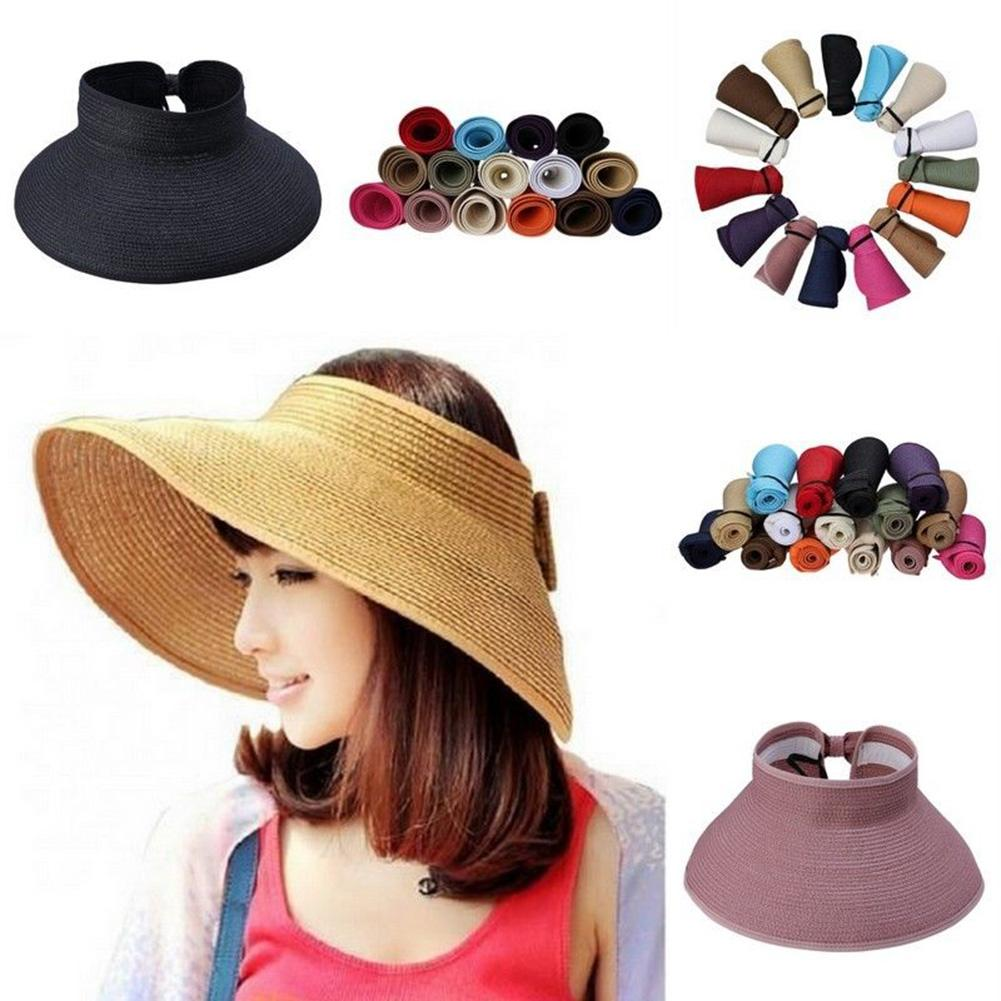 Summer Solid Sunshade Open Top Beach Hat Fishing Riding Hat Parent Child  Straw Hat Folding Large Brim Hat Jul3130-in Beach Caps from Sports    Entertainment ... 263b8ec86c13