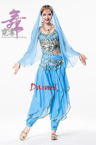 Indien Sari femmes danse du ventre Costume 4 pièces danse vêtements ensemble indien danse Costumes - 6