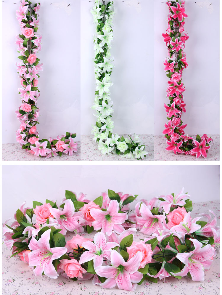 Large lily Artificial Flower Garland For Wedding Decorations Lily Rose Full Flower vine artificial rattan flower arch flower