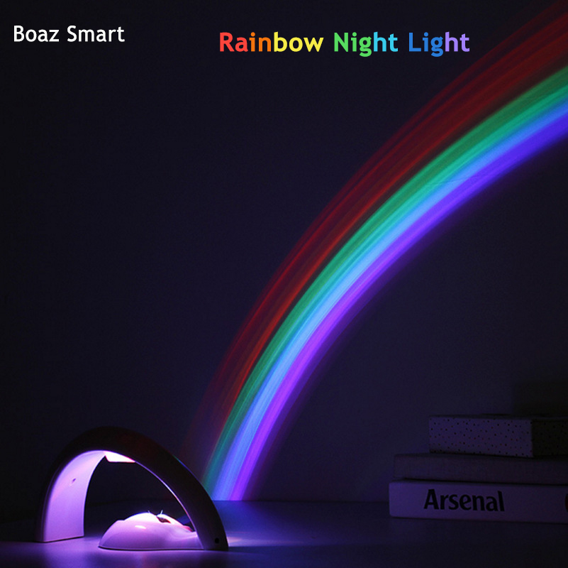 LED Night Lamp Rainbow Projector night light Battery Powered Romantic Atmosphere light Children kids Gift Colorful Home Decor in LED Night Lights from Lights Lighting
