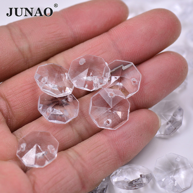 Free Shipping 200pcs Clear 12mm Octangle Double Holes Pointed Back Acrylic Diamond Apparel Sewing Buttons Crafts Diy Rhinestone Buttons