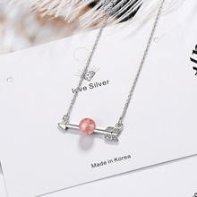 KOFSAC Charm 925 Sterling Silver Necklaces Women Popular Arrow Of Love Crystal Pink Necklace Girl Jewelry Valentines Day Gifts