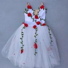 الأبيض الزهور الباليه فستان للفتيات الاطفال الطفل راقصة الباليه فستان الاطفال المهنية الباليه توتو الاطفال الطفل الفتيات ملابس رقص