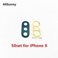 AliSunny 50set Zurück Kamera Glas für iPhone X XS XSM XR Hinten Cam Objektiv Abdeckung Ring 3M Aufkleber adhesive Ersatz Teile