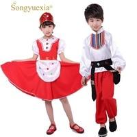 Songyuexia traditional russian costume dance costumes dress chinese dance costumes children for girls boys folk dance costumes