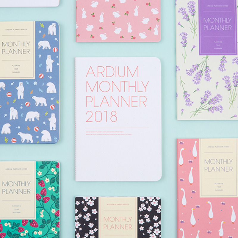 Cute Floral Design 2018 Monthly Planner Book 13*19cm Korean Fashion Agenda Scheduler Gift 64P Free Shipping floral flamingo theme creative 2018 weekly planner band journal notebook 13 9 19 4cm korean fashion scheduler 192p free shipping