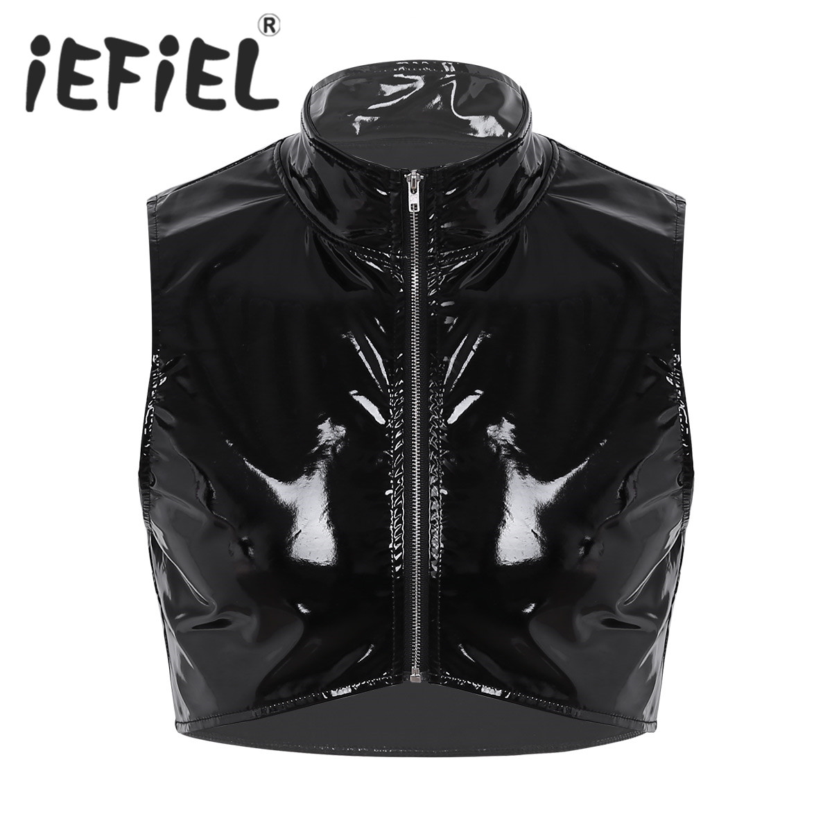 New Arrival Fashion Male Mens Faux Leather Stand Collar Zipper Front Muscle Short Vest Tank Tops Nightclub Clubwear Style Shirt