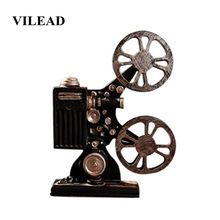 VILEAD 23.8cm Resin Projector Bioscope Figurines Retro Nostalgic Model Ornaments Creative Photography Props Display Indoor Decor