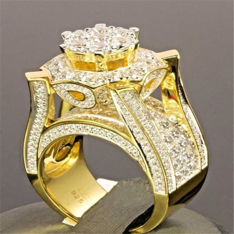 Hip Hop Micro Pave Rhinestone Iced Out Bling Gold Color Ring High Quality  Crystal Rock Rings 5fa0d9c6ab5b