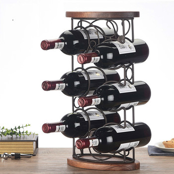 1 PCS Red wine rack display stand solid wood bottle shelf European multi-storey wine rack (Without bottles and cups) LU718648