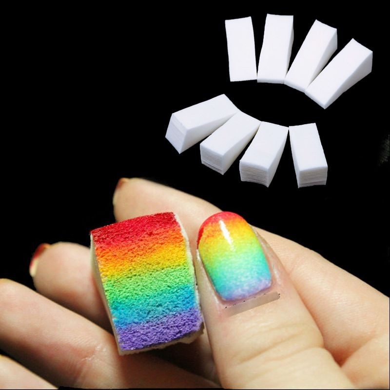 Two Tone Nail Polish Fade: FairyGlo Nail Files 24pcs Color Fade Soft Sponges Gradient