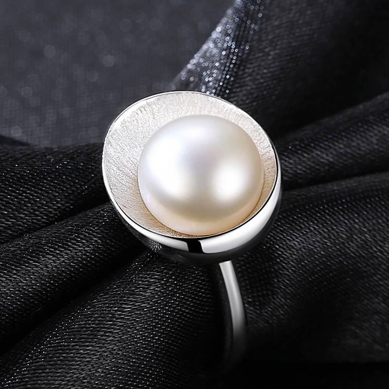 925 Ring Natural Pearl Rings For Love Vintage Wedding 925 Rings Freshwater Pearl 925 Silver Ring Adjustable White/pink/purple