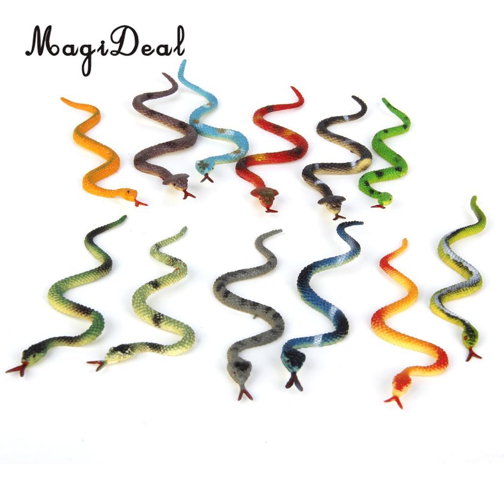 MagiDeal 12Pcs/Lot Plastic Reptiles Animal Snake Model Kids Children Baby Toy Multi-color
