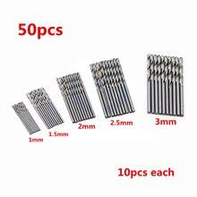 цена на 50pcs/Lot 1mm/1.5 mm/2mm/2.5mm/3mm Mini Micro Round Shank Drill Bits Set Small Precision HSS Twist Drill