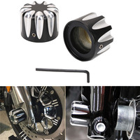 Motorcycle Black CNC Excalibur Front Axle Nut Cover Bolt For Harley Touring Trike FLHX FLHR FLTR