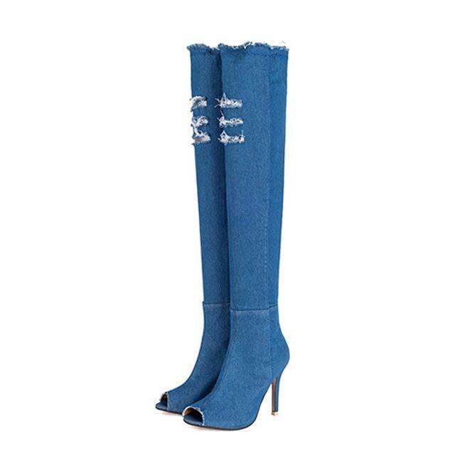 bf24cb4f243 2019 High Quality Woman Denim Knee Boots Heel