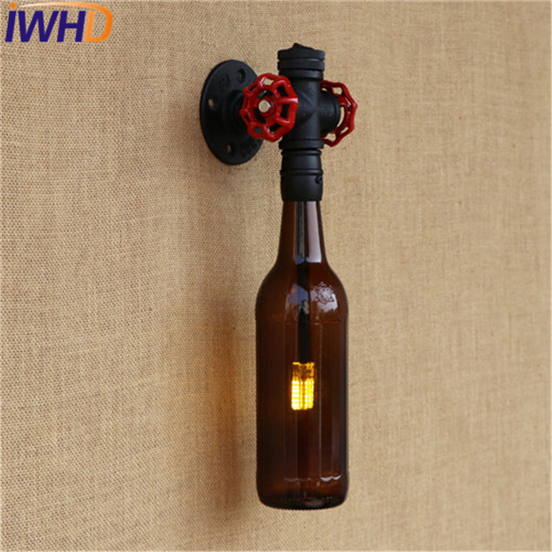 IWHD Loft Style Glass Bottle Water Pipe Lamp Wall Sconce Switch LED Industrial Vintage Wall Light Fixtures Indoor Lighting adnart flavour it glass water bottle with fruit infuser