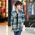 Camisa xadrez 100% algodão blusa 9 cores blusas femininas