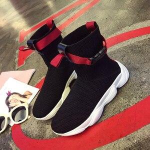 Image 2 - SWYIVY 2019 seksowna na jesień platforma damska trampki skarpety buty biała kobieta nowe hip hopowe czarne buty najlepsze trampki Ulzzang