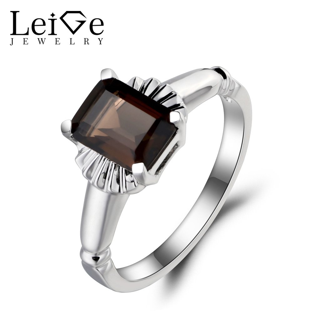 Leige Jewelry Brown Fine Gemstone Natural Smoky Quartz Ring Emerald Cut Solitaire Ring Genuine 925 Sterling Silver for Women