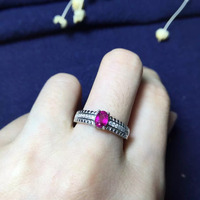 4 5 5 5mm Three Colors 925 Sterling Silvery Natural Rubillite Red Tourmaline Ring Fine Jewelry