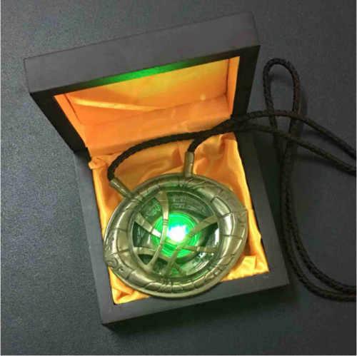 Avengers 4 Endgame 1:1 lumière LED Dr docteur étrange pendentif oeil d'agamotto collier Collection Cosplay halloween accessoires de noël