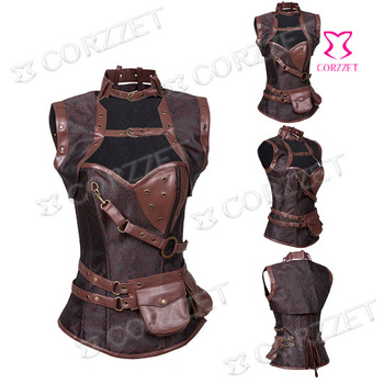 2015 Latex Brown Vintage Sexy Ovebust Steel Boned Corset Steampunk Gothic Clothing Women Waist Trainer Corsets And Bustiers Top