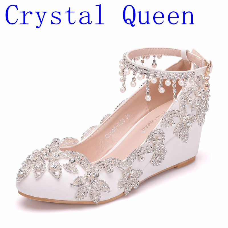 Crystal Queen Fashion Wedding Shoes 5CM Bride High Heels Crystal Pumps Wedges Evening Party Dress Elegant