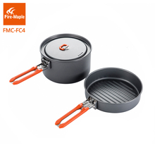 лучшая цена Fire Maple Outdoor Camping Hiking Pinic Cookware Cooking Picnic 1 Fry Pan 1 Pots Set Foldable Handle FMC-MC4