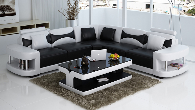 Modern Italian Style Corner Wooden Sofa Set Designs 0413