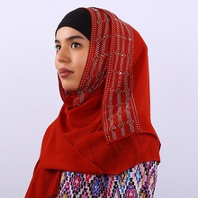 Exquisite Solid Color Woman hijab Rhinestone Chiffon Popular Shawls Scarf Headband Muslim Hijab Turban 14 Colors Free Shipping