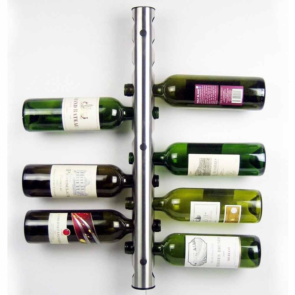 Miễn phí Vận Chuyển Thép Không Gỉ Hình Dạng Thanh Thiết Kế Treo Tường Giá Rượu Chai Rượu Vang Giữ Kệ (12 Lỗ) (32-12)
