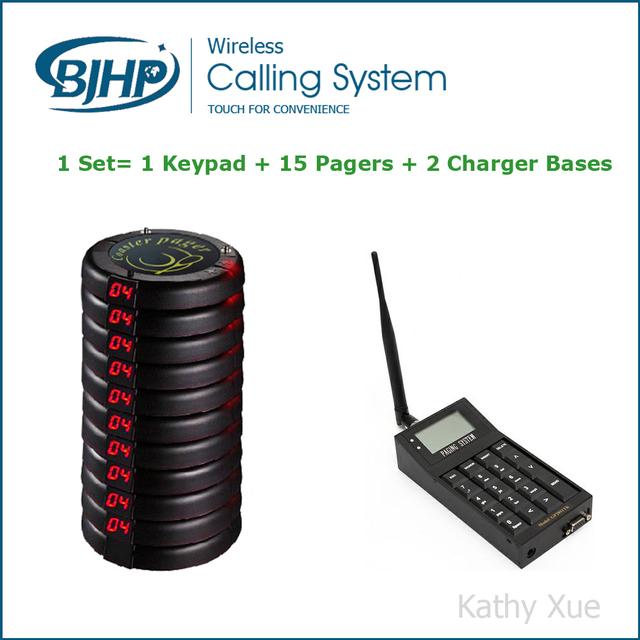 Longo alcance sistema de Pager para Boate/café/food court/restaurante (1 Teclado + 15 Pagers Coaster + 2 Carregador de Bases)