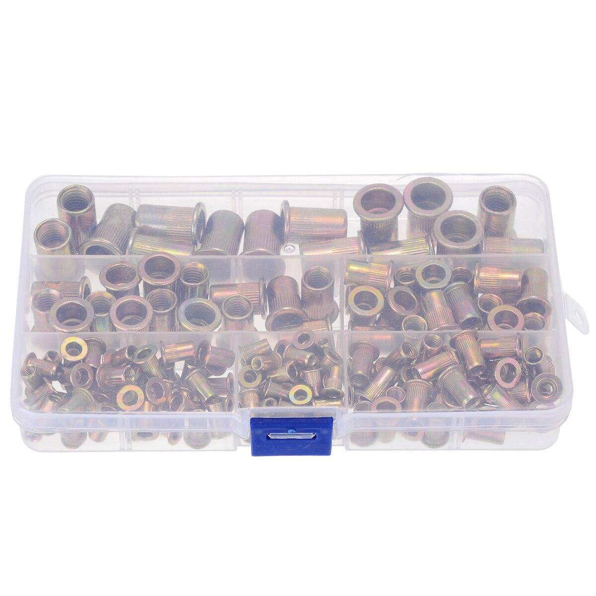 New 175pcs/kit M3 M4 M5 M6 M8 M10 Zinc Plated Carbon Steel Nuts Rivnut Flat Head Threaded Rivet Insert Nutsert Cap Rivet Nut
