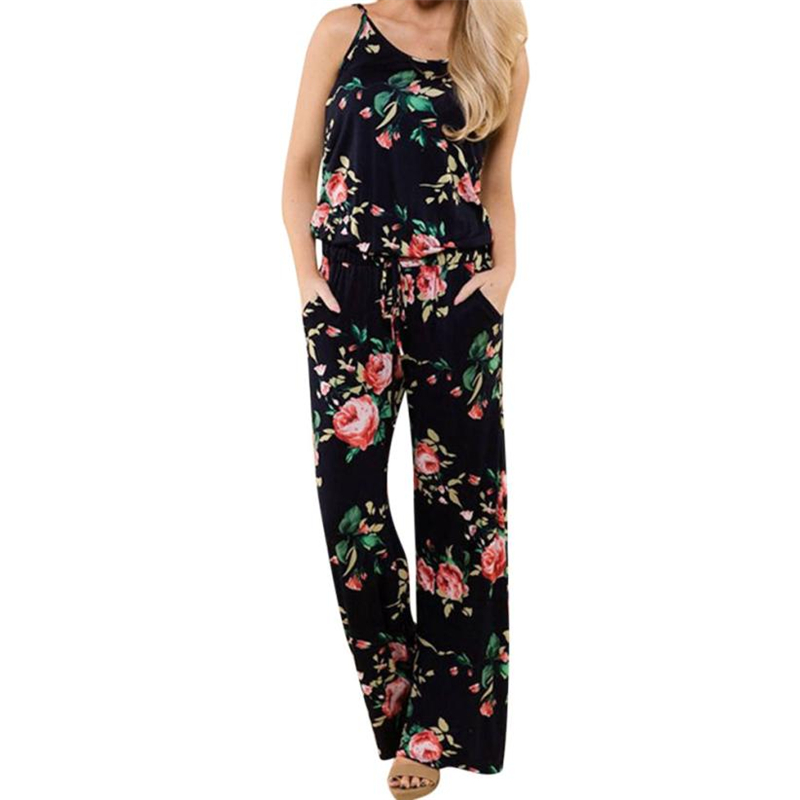 CHAMSGEND Rompers summer 2018 Drop shipping Boho Women Ladies Printing Sleeveless Long Playsuits Rompers Jumpsuit O0707#30