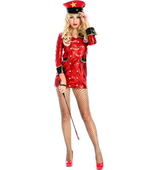 sexy red lady Halloween Officer Policewomen Cosplay Fancy Dress Outfit Women Sexy Erotic Fetish Cop Police Costume A054