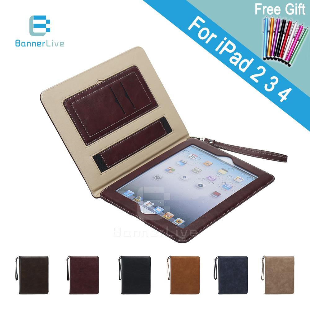 Luxury PU Leather Case for iPad 2 3 4 Retro Briefcase Auto Wake Up Sleep Hand Belt Holder Stand Bags Cover for iPad2 iPad3 iPad4 lichee pattern protective pu leather case stand w auto sleep cover for google nexus 7 ii white