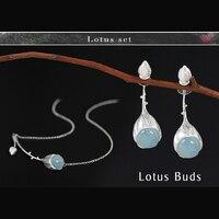 Lotus Diversión 925 Aquamarine Piedras Preciosas Sistemas de La Joyería para Las Mujeres de Lujo de Doble Cara Stud Pendientes/Pulseras de Los Encantos