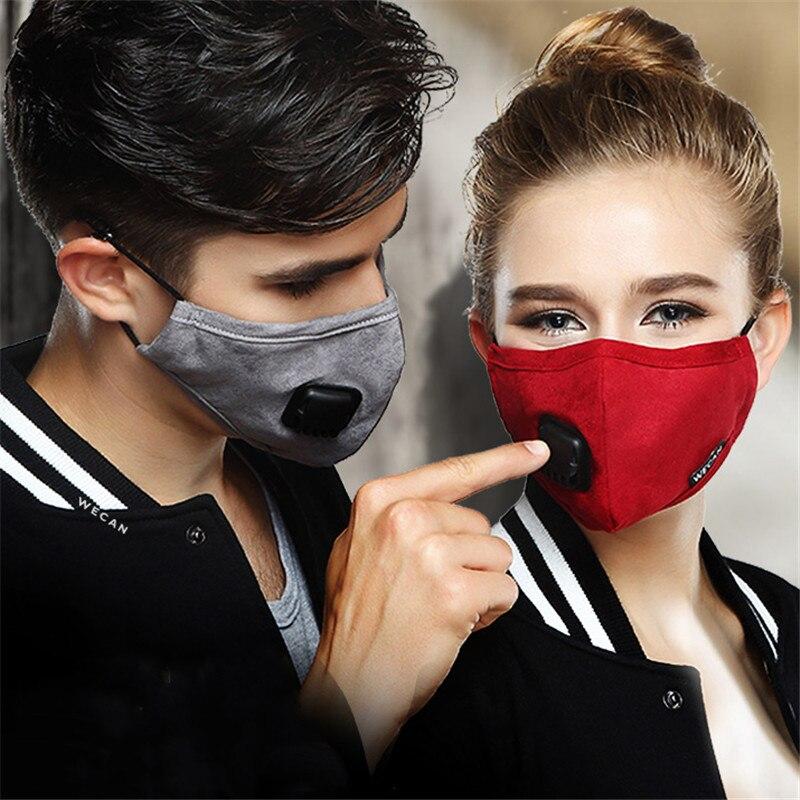 Calor En Invierno De Moda A Prueba De Polvo De Algodón De Las Mujeres Y Los Hombres Deportes Anti Pm2.5 Haze Filtro De Carbono Activado A Prueba De Viento Respiro Válvula Mask19