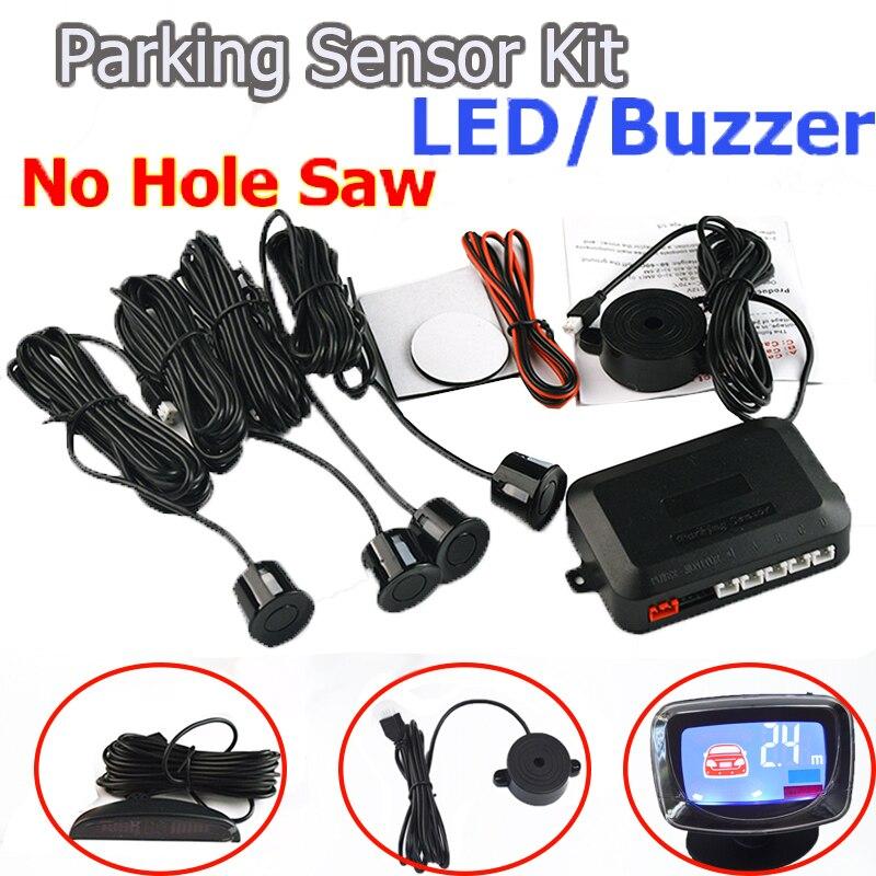 Viecar 4 sensores de timbre/LED No agujero VI 22mm Sensor del estacionamiento del coche Kit inversa de Radar de alerta de sonido sistema indicador de 7 colores