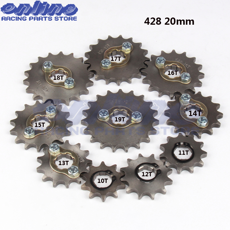 428 10T~19T 20mm Front Engine Sprocket for Stomp YCF Upower Dirt Pit Bike ATV Quad Go Kart Moped Buggy Scooter Motorcycle 428 10t 19t 20mm front engine sprocket for stomp ycf upower dirt pit bike atv quad go kart moped buggy scooter motorcycle