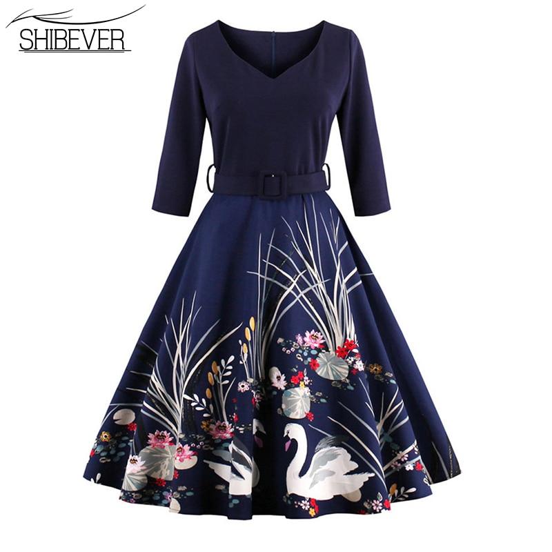 SHIBEVER Nyári női ruhák nyomtatási fél ruha elegáns golyó - Női ruházat