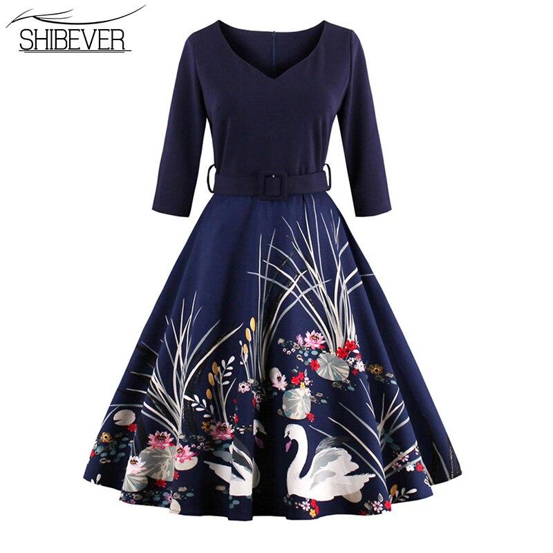 Shibever nuevas mujeres vestidos de impresión de la moda con cuello en v party d