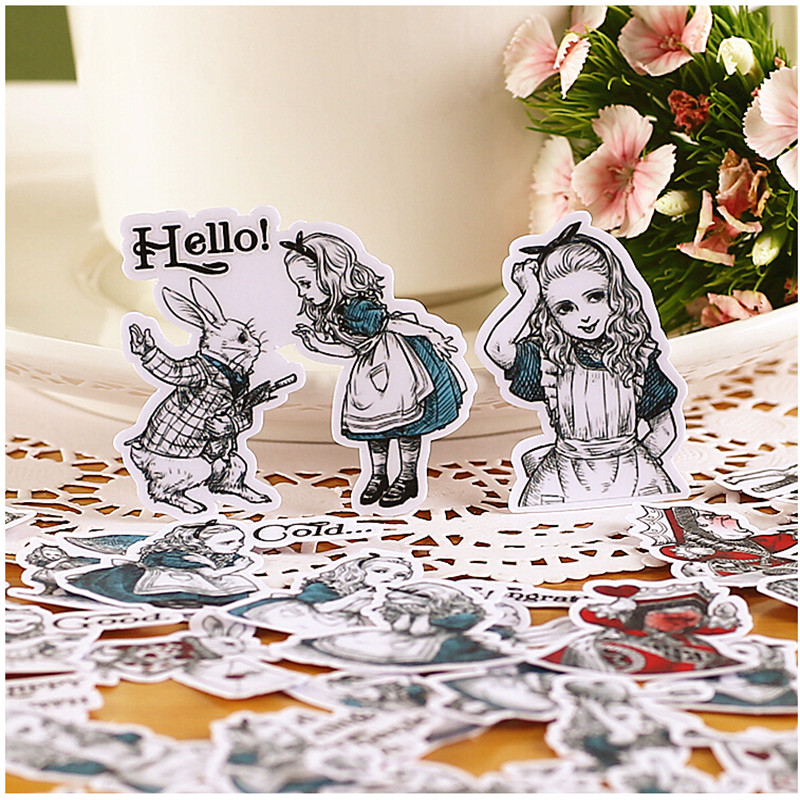 38pcs Creative Cute Self-madeGirl / Alice Hand-painted Version Scrapbooking Stickers /Decorative Sticker /DIY Craft Photo Albums