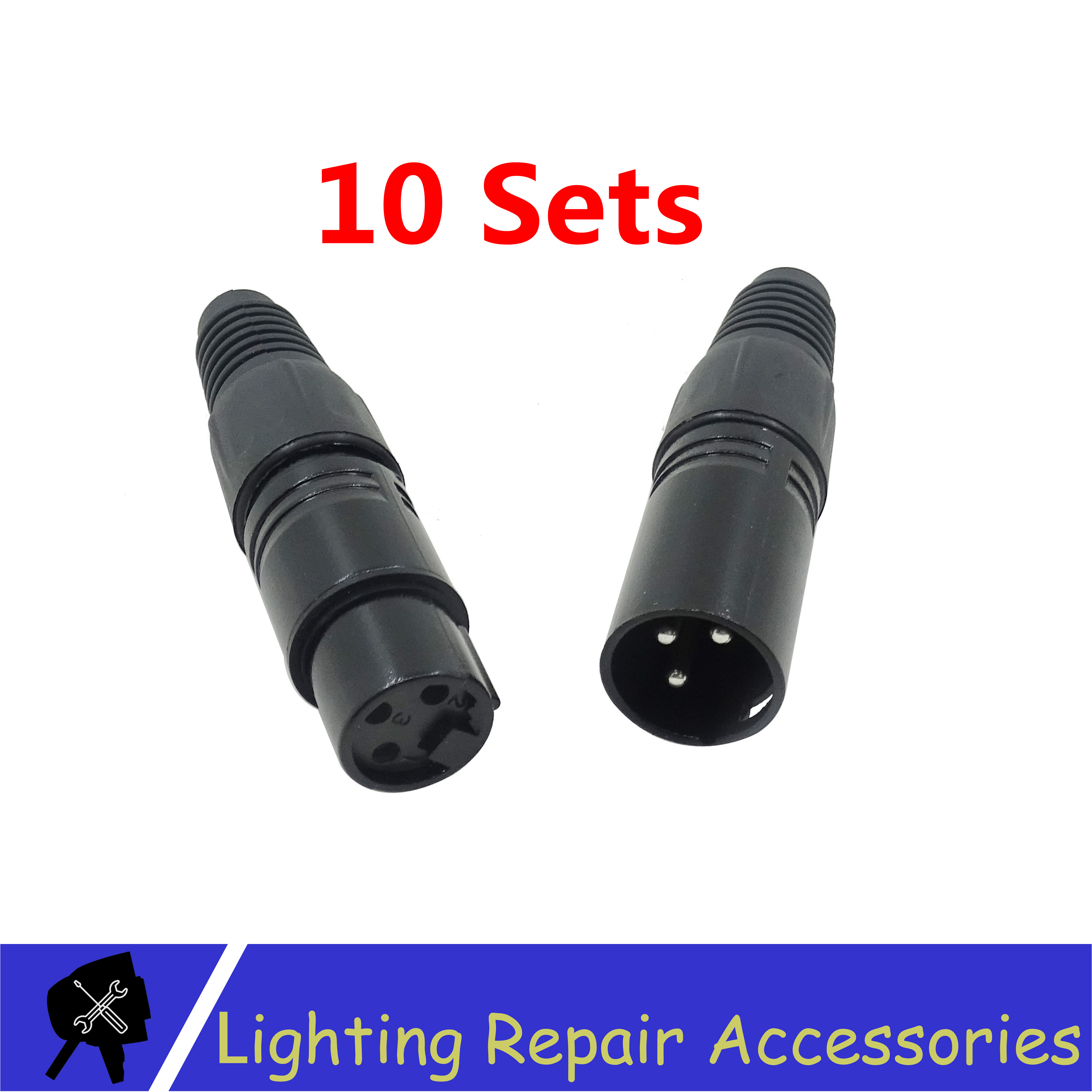 10Sets 3-PIN XLR Metal Connector  For DMX Cable Microphone Cable Audio Cable Connector Stage Light Accessories