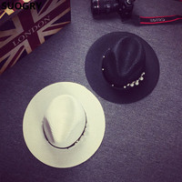 SUOGRY New Spring Summer Hats For Women Flower Beads Wide Brimmed Jazz Panama Hat Chapeu Feminino