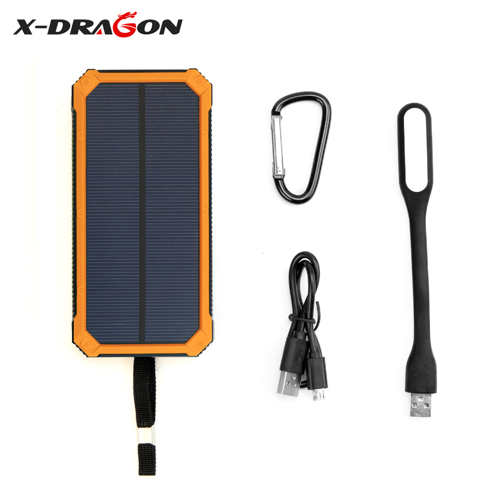 X-DRAGON Multi-functional Power Bank 15000mAh Support Emergency Solar Charging with Dual USB for iPhone 5s 6 6s 7 7plus 8