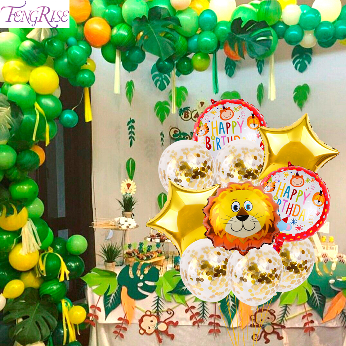 Us 0 41 14 Off Fengrise Disposable Tableware Jungle Party Birthday Party Decor Kids Jungle Safari Party Animals Theme Baby Shower Supplies In Party