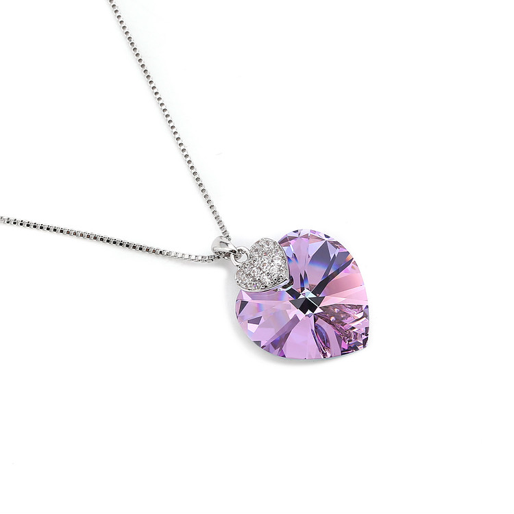 HTB1O4D5bjzuK1Rjy0Fpq6yEpFXa7 Swarovski Crystal Necklace Heart Shape Amethyst Crystal Pendant Necklace Fashion Jewelry Choker Necklace Gift for Lady Collares