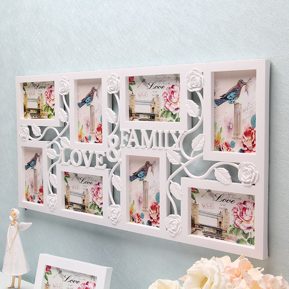White Multi Photoframe Frames Love Family Picture Wall Decor Photo                                                                                         S
